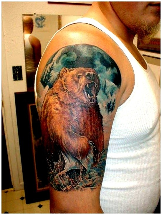 Colorful bear in water tattoo on half sleeve