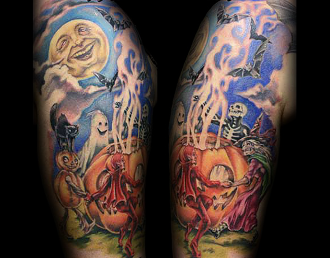 Colorful cartoon like shoulder tattoo of Halloween night tattoo with various monsters