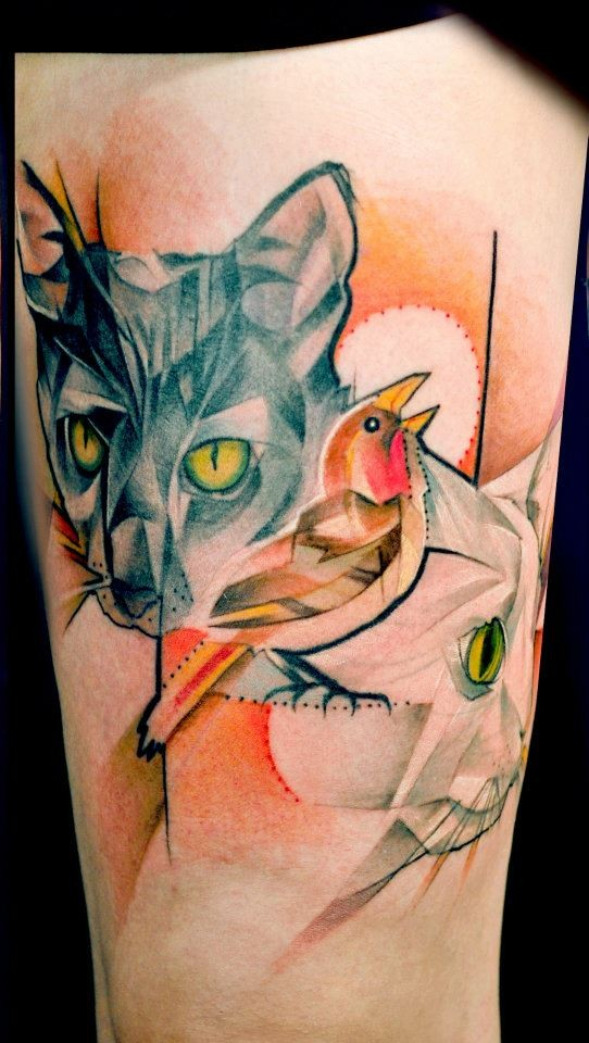 Colorful cats and bird tattoo by Marie Kraus