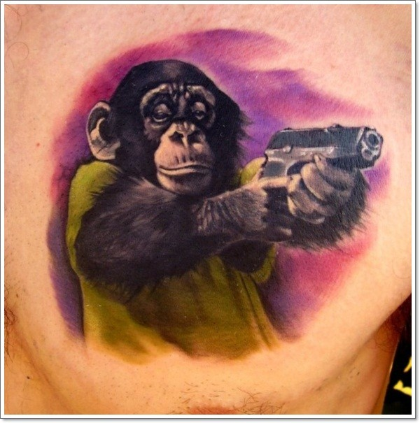 Colorful chimpanzee with a gun tattoo