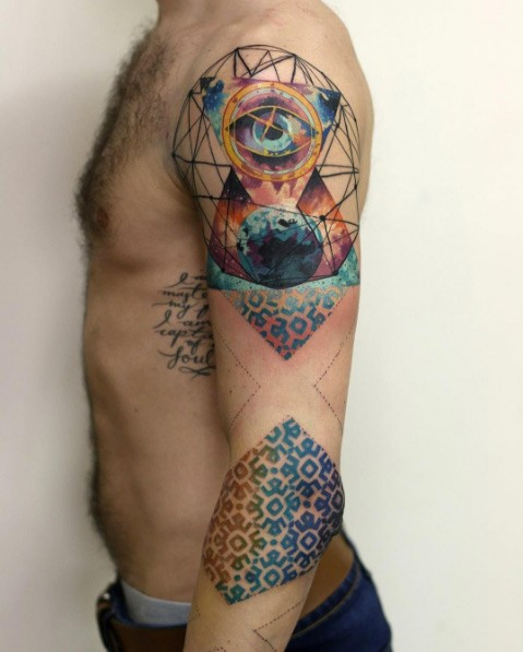 Colorful creative looking sleeve tattoo of triangle with eye and floral ornaments