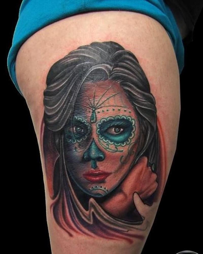 colorato scuro ragazza giorno dei morti tatuaggio su coscia