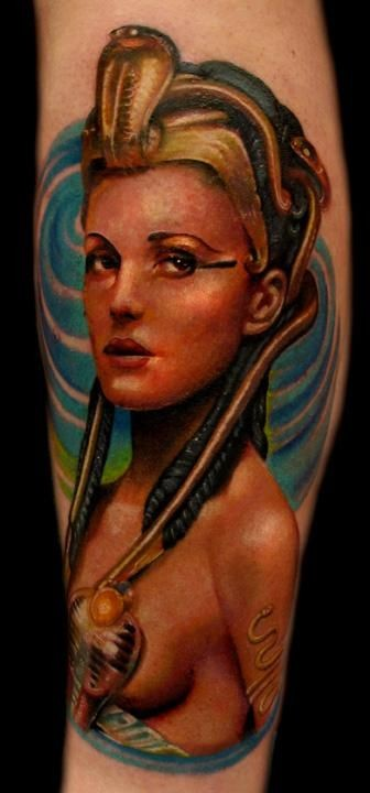Colorful egyptian queen tattoo
