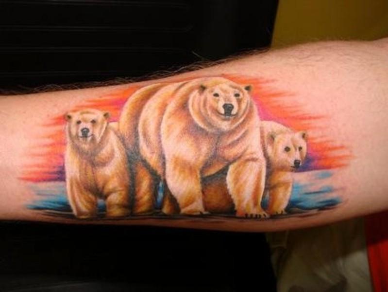 Colorful family of polar bears tattoo