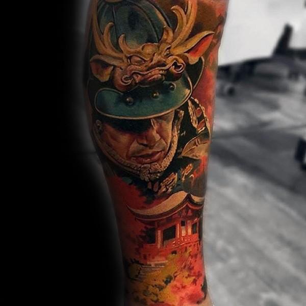 Colorful forearm tattoo of medieval samurai warrior