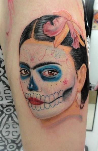 Colorful frida kahlo santa muerte tattoo - Tattooimages biz