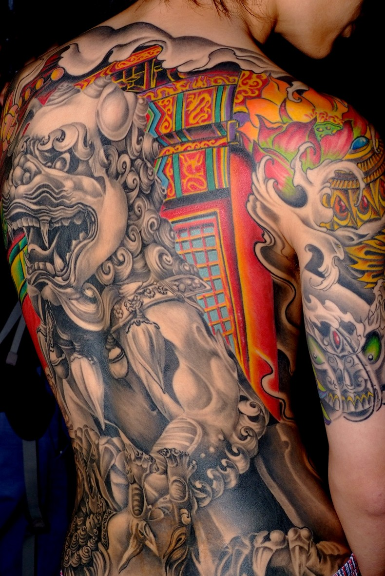 Colorful great chinese lion tattoo on back