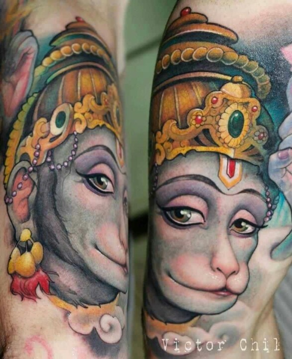Colorful hanuman tattoo by Victor Chil