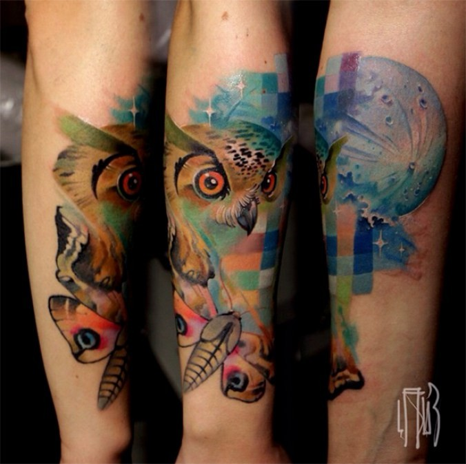 Colorful illustrative style owl with butterfly tattoo on forearm with plane and stars