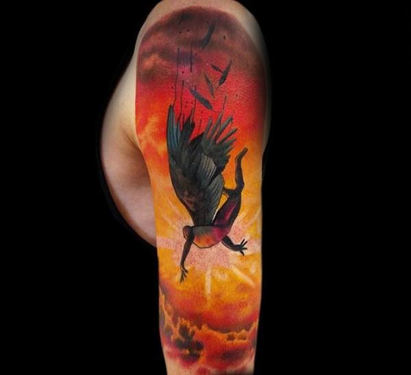 Colorful illustrative style sleeve tattoo of falling Icarus