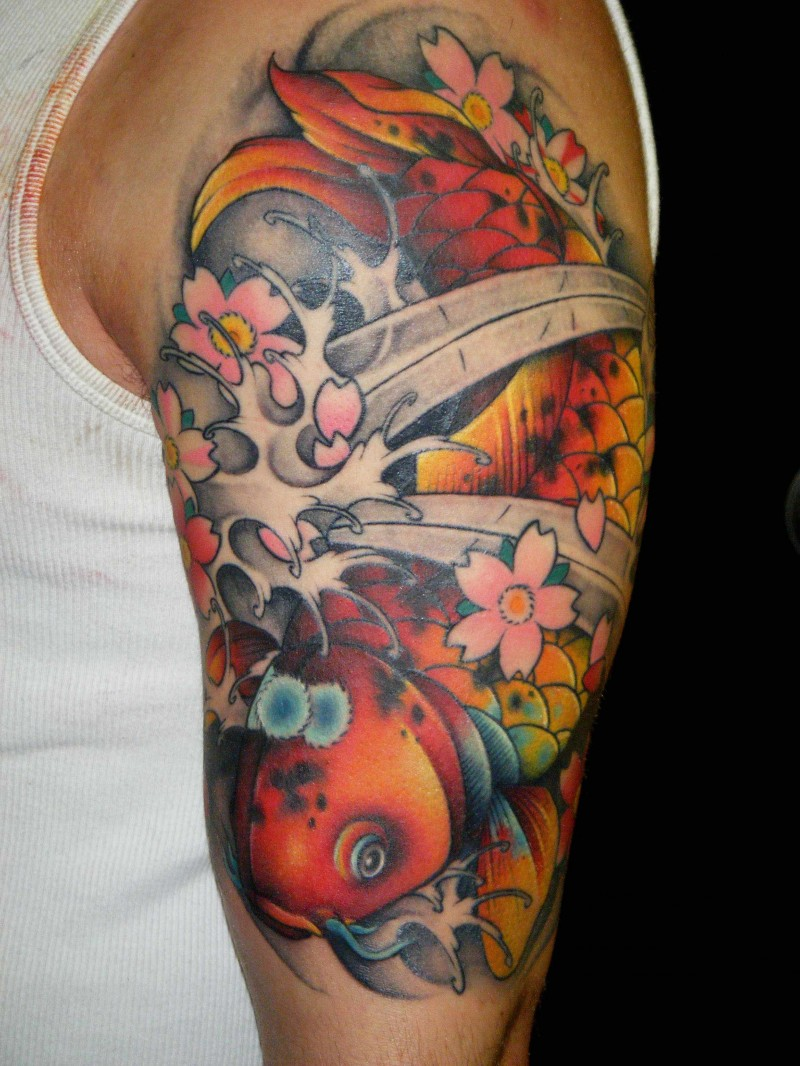 Colorful koi fish tattoo on half sleeve