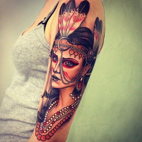 Colorful native american girl tattoo on shoulder by Tom Bartley