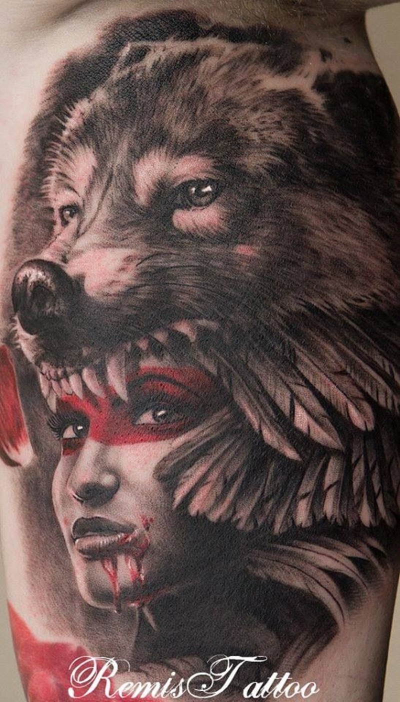 Colorful native american girl with wolf mask tattoo by Remis