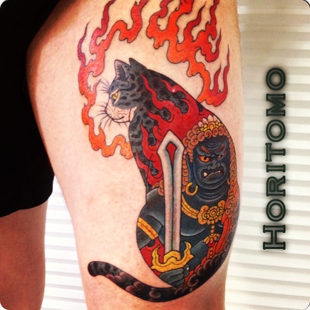 Colorful painted by horitomo tattoo of Manmon cat