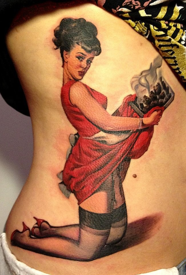 e87f43c6a Colorful pin up girl in red dress tattoo by Matteo Pasqualin -  Tattooimages.biz