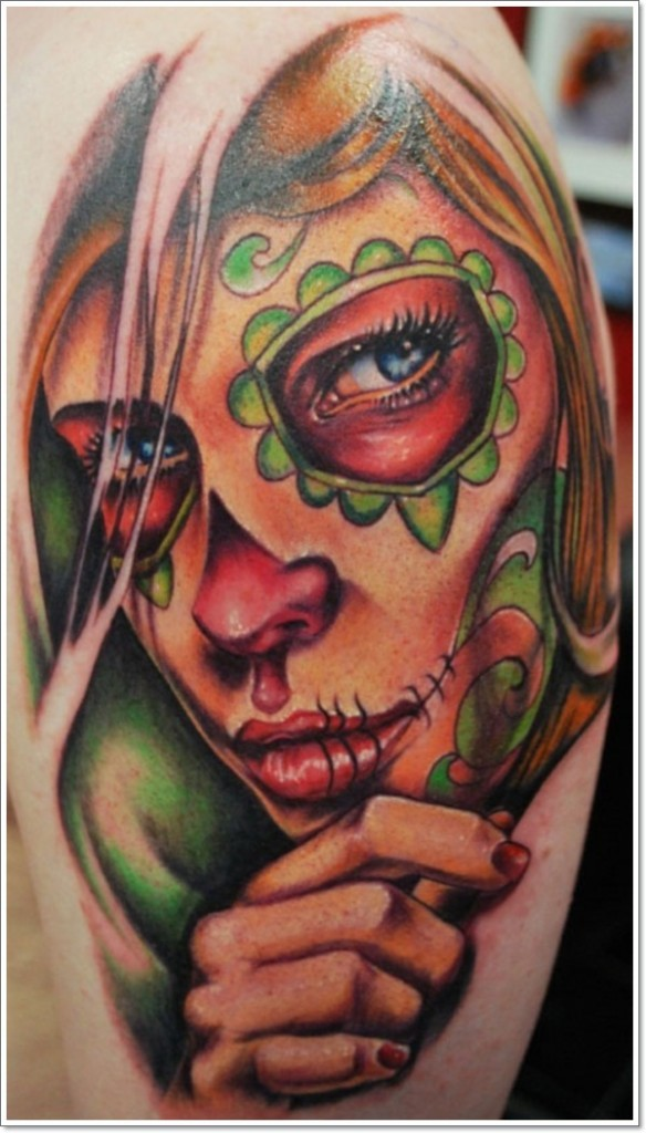 Colorful portrait day of dead girl tattoo