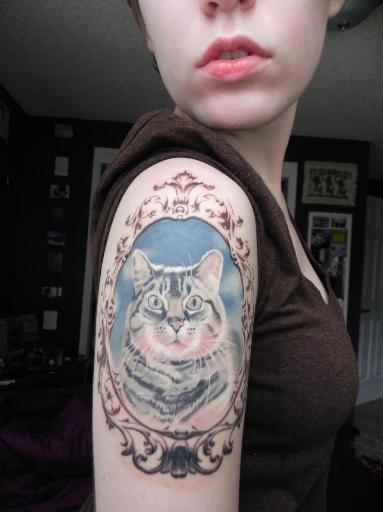 Buntes Porträt einer Katze in einem Rahmen Tattoo an der Schulter ...