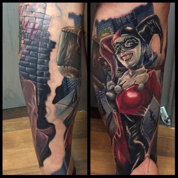 Colorful realistic looking leg tattoo of evil Joker woman