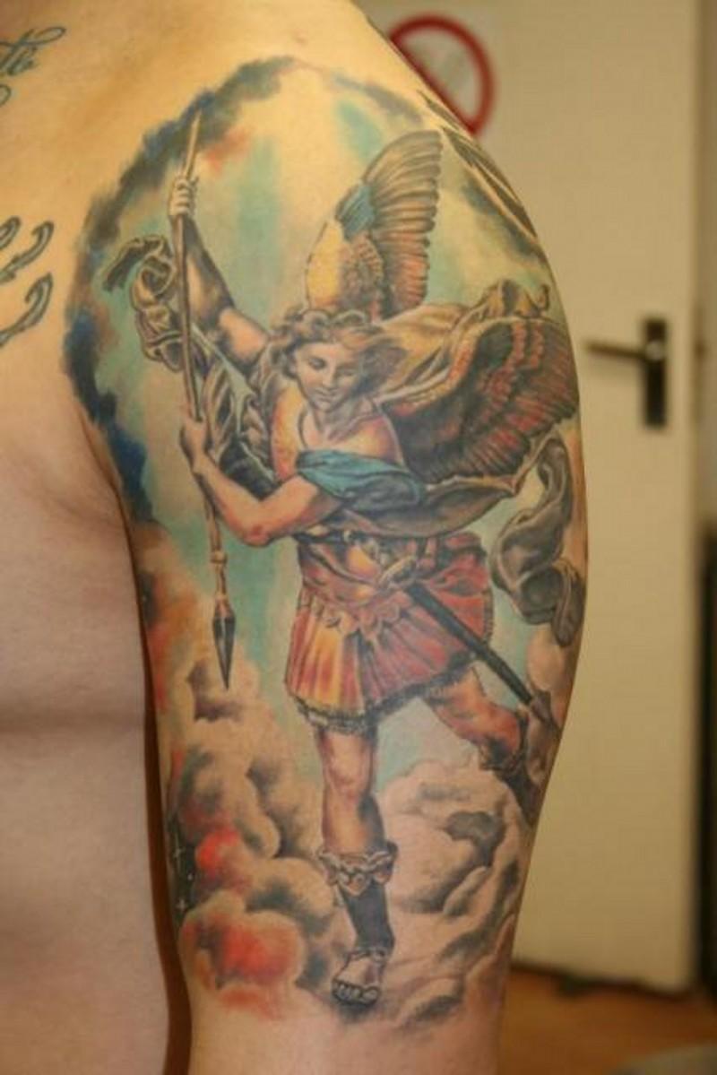 Colorful saint michael angel tattoo on shoulder
