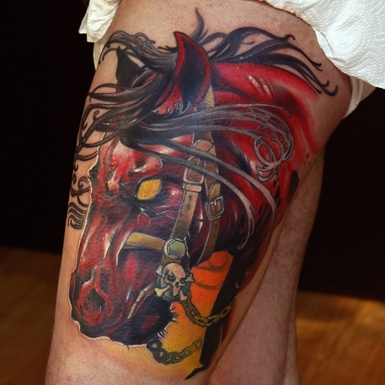Colorful scary dark horse zombies tattoo on leg