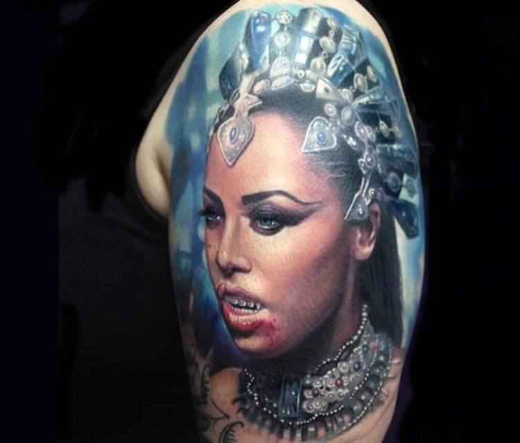 Colorful shoulder tattoo of vampire queen