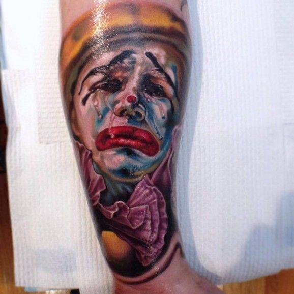 pagliaccio in lacrime tatuaggio colorato da Fabian de Gailande