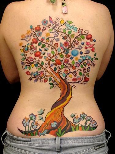 Colorful tree tattoo on back