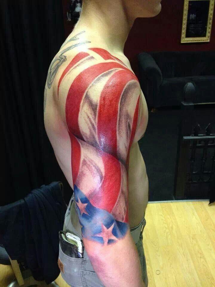 Colorful usa flag tattoo on arm