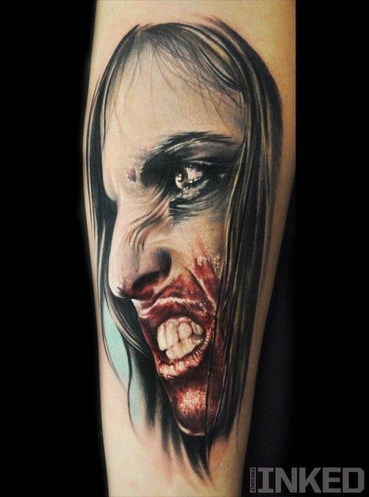 colorato orribile vampiro tatuaggio