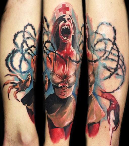 Colorful vampire nurse horror tattoo by kamil terczynski
