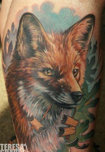 colorato acquarello volpe realistico tatuaggio da Theresa Sharpe