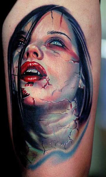 6cd1d9795 Colorful young vampire girl tattoo - Tattooimages.biz