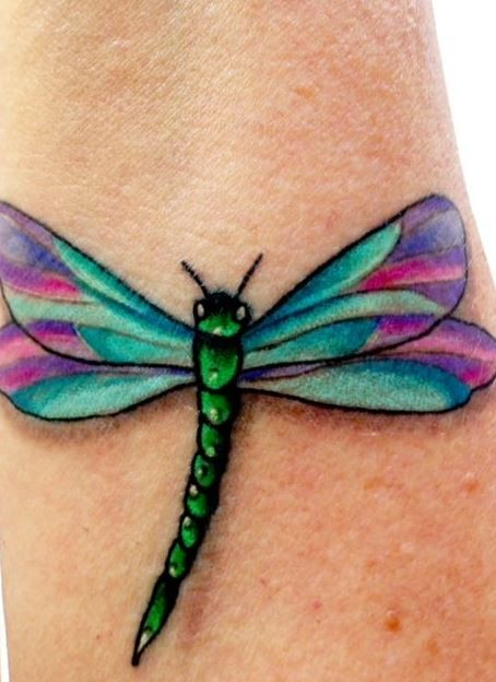 coloured beautiful dragonfly tattoo