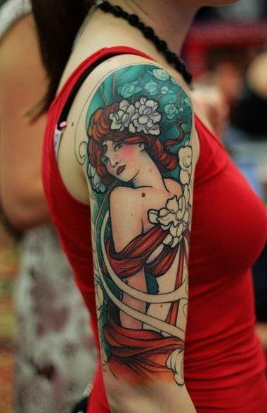 Coloured beautiful girl tattoo on arm