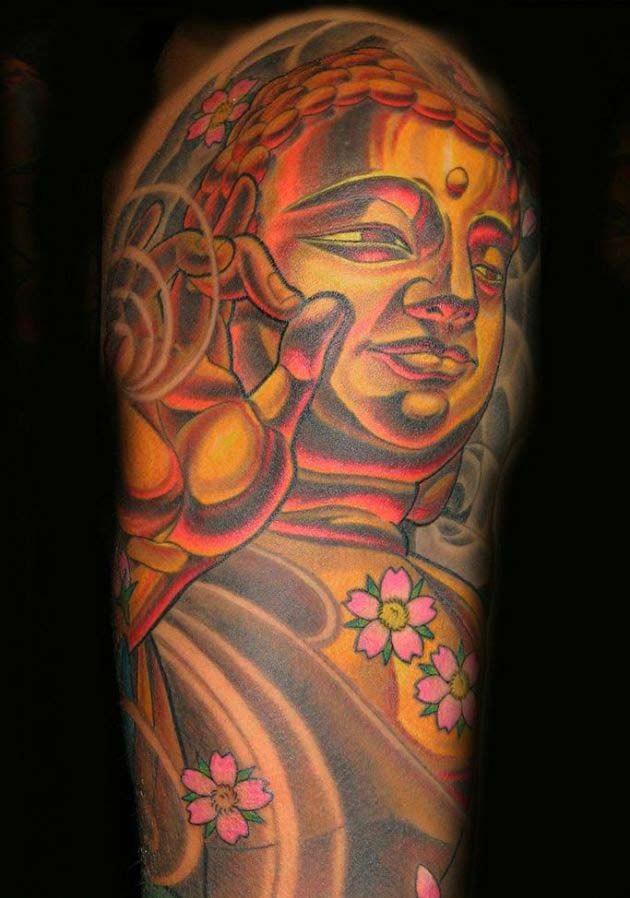 Coloured Buddha Tattoo On Half Sleeve Tattooimagesbiz