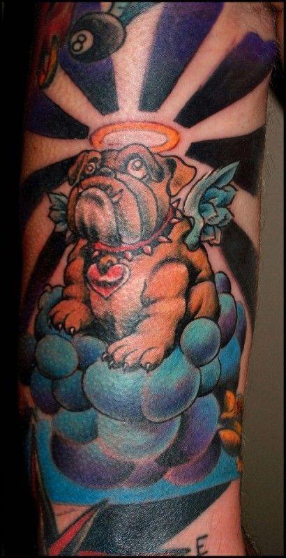 coloured bulldog angel in heaven tattoo. Black Bedroom Furniture Sets. Home Design Ideas