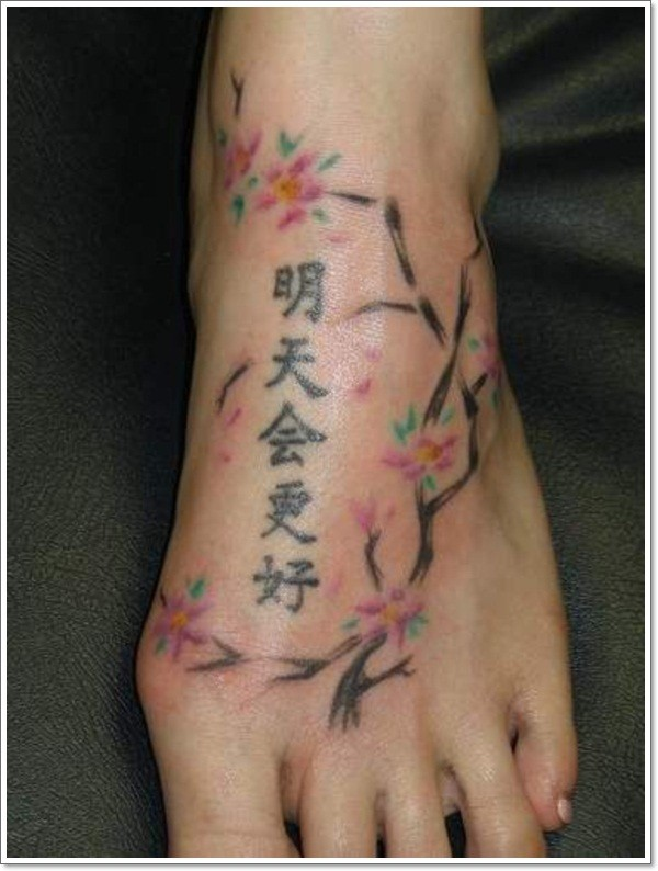 Coloured chinese hieroglyphs tattoo on foot