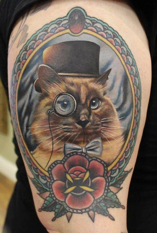 Coloured gentleman cat tattoo by Phatt German