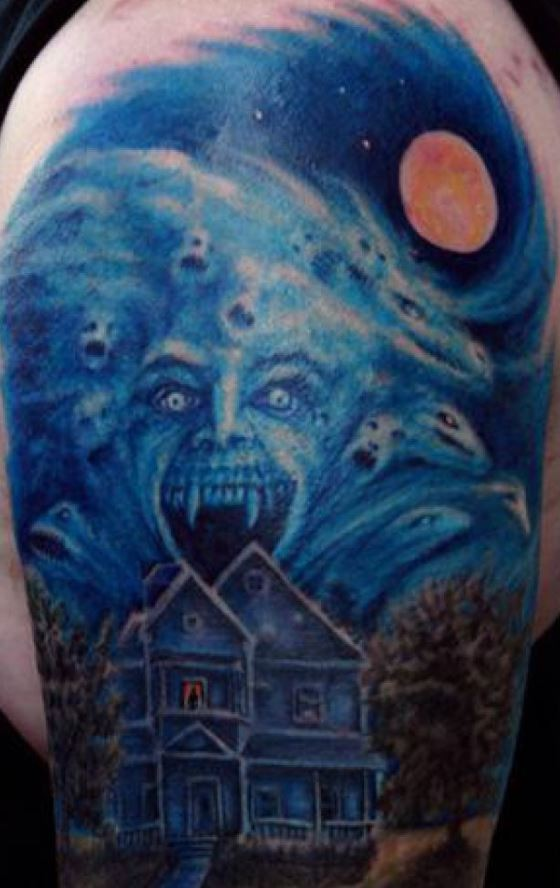 Coloured ghosts of house horror tattoo