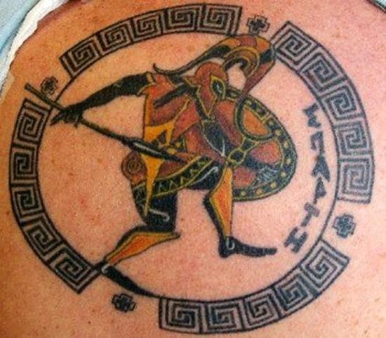 Coloured gladiator in a black frame tattoo