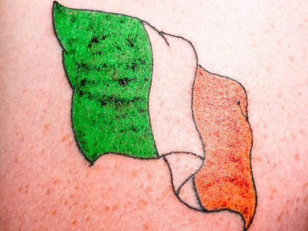 Coloured irish flag tattoo for Irish canadian tattoos