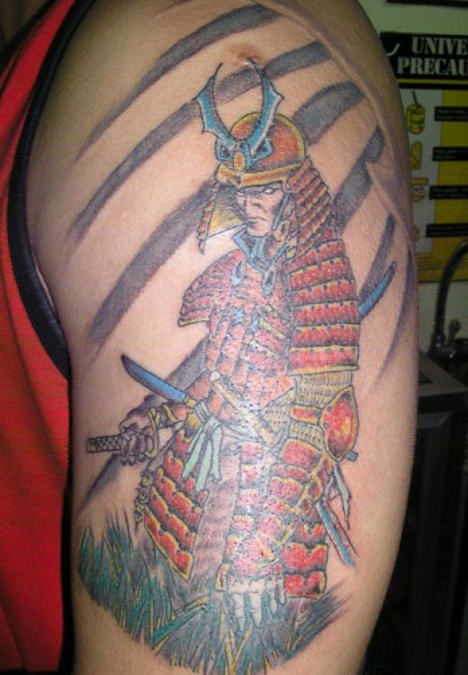 Coloured japanese samurai with sword tattoo on shoulder