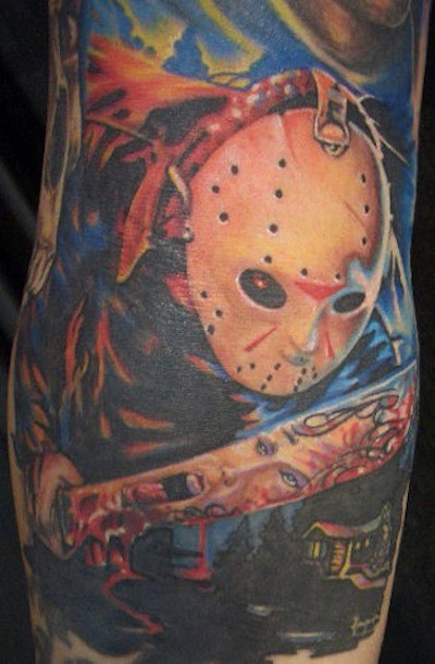 Coloured jason friday the 13 movie horror tattoo