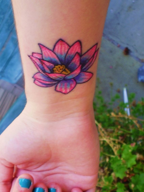 Small Wrist Lotus Flower Tattoo Designs: Coloured Lotus Flower Tattoo On Wrist