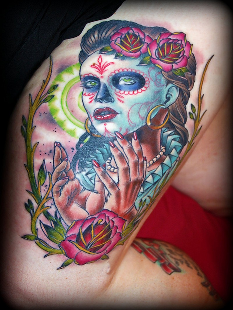 Coloured mexican skull girl tattoo