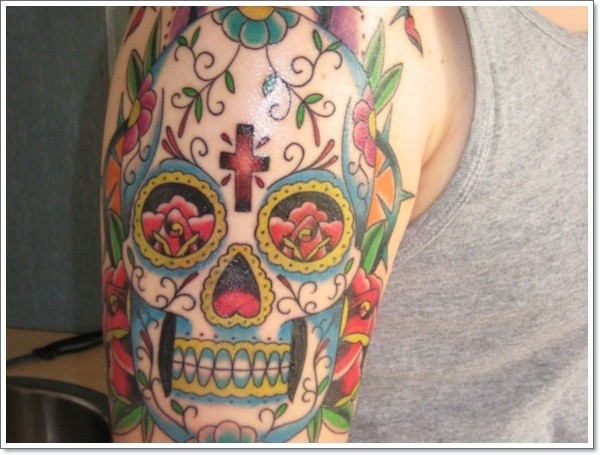 Coloured muertos mexican skull tattoo