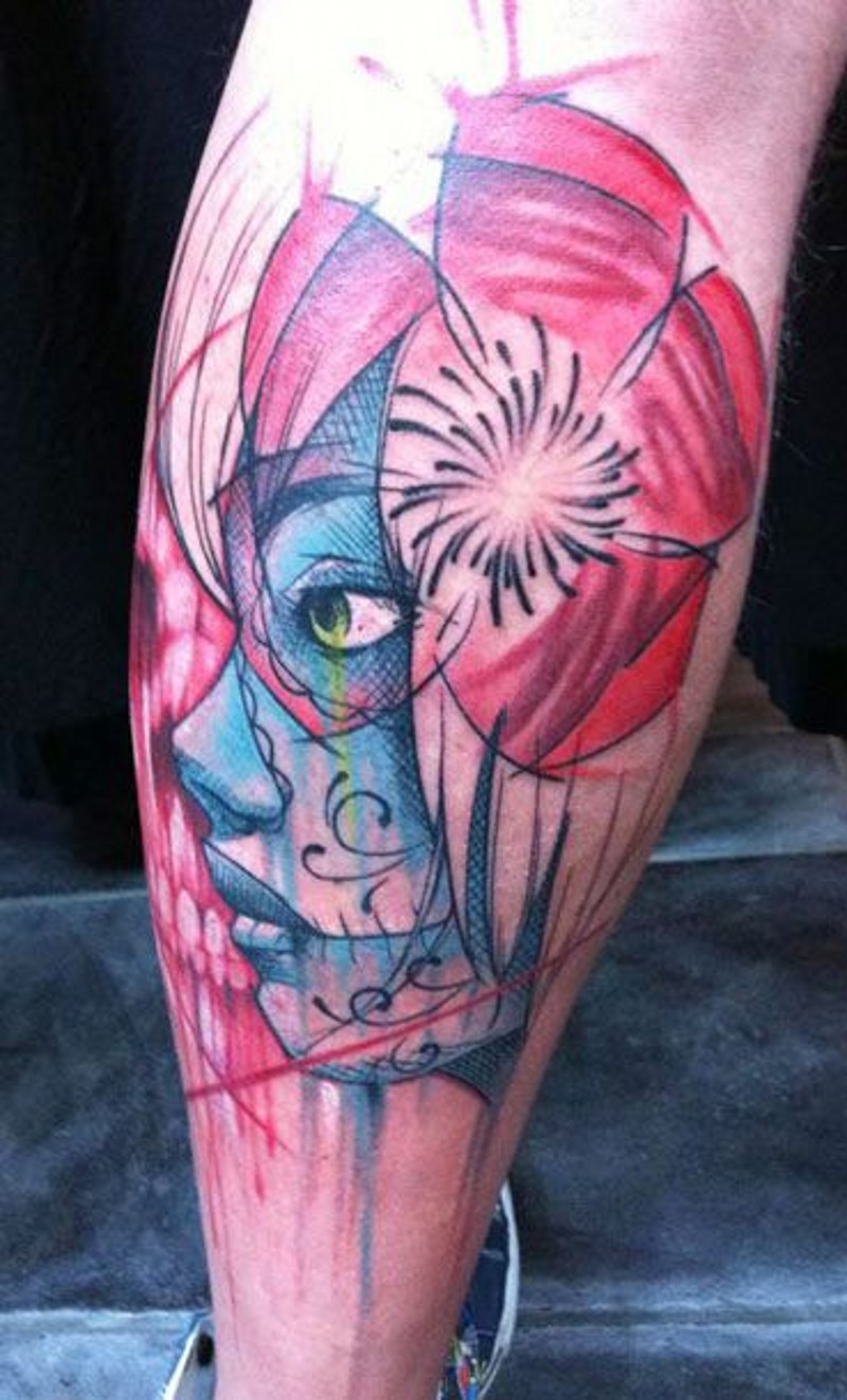 Coloured new style santa muerte girl tattoo on leg