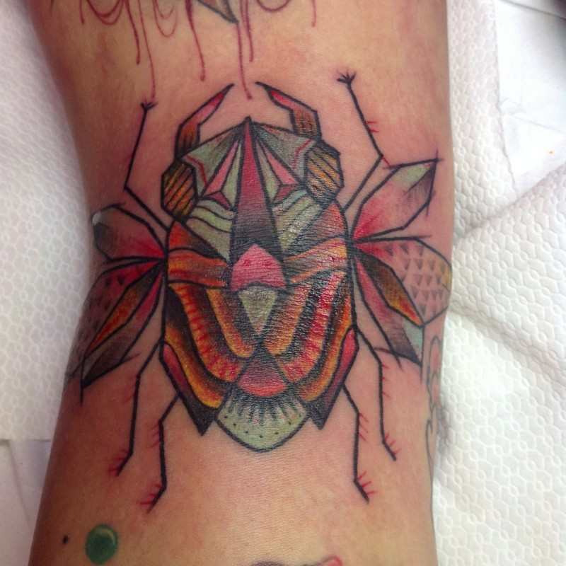 Coloured nice bug tattoo