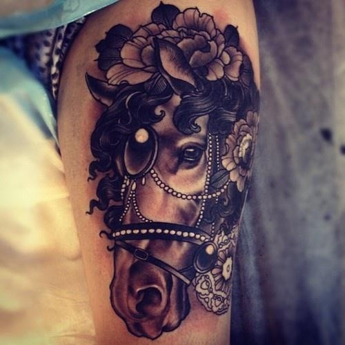 Coloured old school dark horse head tattoo