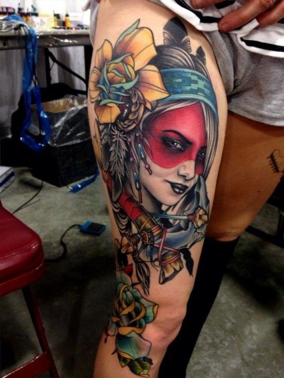 Great native american pictures for Native american woman tattoo